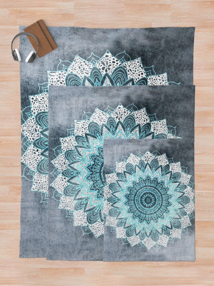 Alternate view of BOHOCHIC MANDALA IN BLUE Throw Blanket
