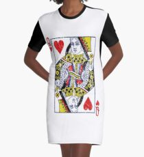Queen of Hearts Playing Card Graphic T-Shirt Dress