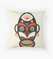 Traditional African Ethnic Mask Throw Pillow