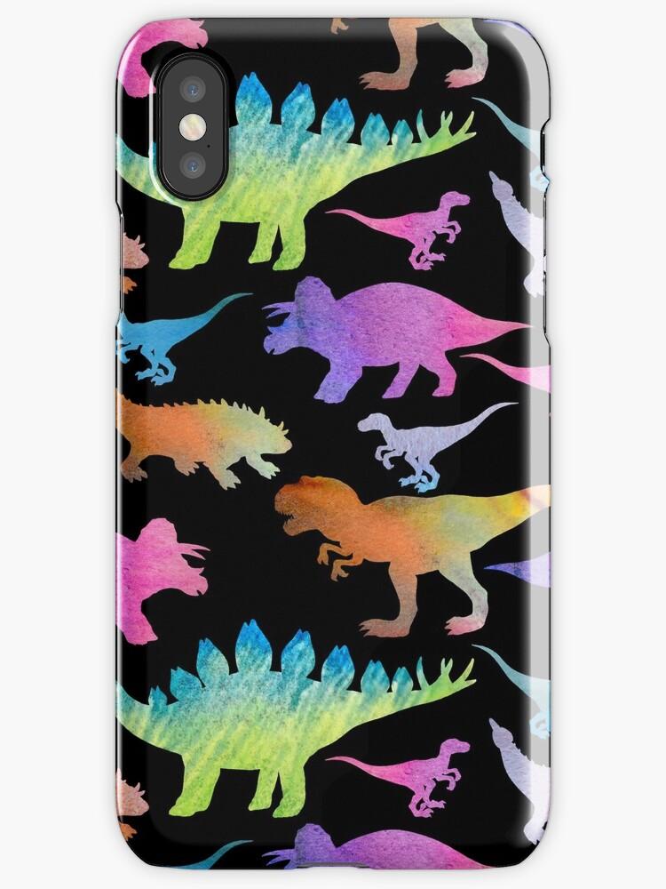 Dinosaur rainbow on black by Artkettu