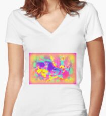 SOFT ILLUSION Women's Fitted V-Neck T-Shirt
