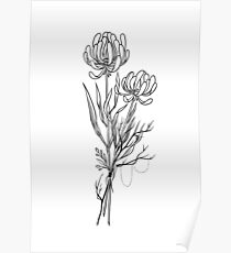 Flowers Lineart Tattoo Style // Black and White Poster