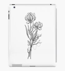 Flowers Lineart Tattoo Style // Black and White iPad Case/Skin