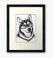 Fashionable dog with glasses Framed Print