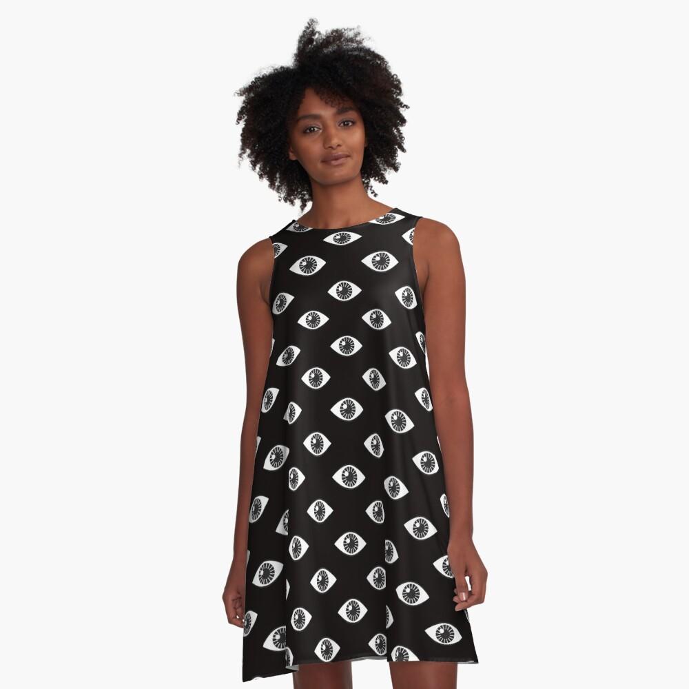 Eyes Wide Open - on Black A-Line Dress Front
