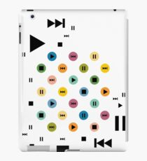 Music Player Icons (Multicolor on White) iPad Case/Skin