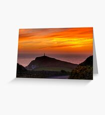 Cape Cornwall sunset Greeting Card