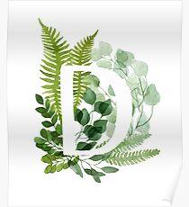 Floral letter D Poster