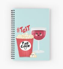 wine and popcorn Spiral Notebook