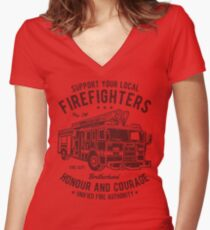 Firefighter Honour And Courage Retro Vintage Distressed Design Women's Fitted V-Neck T-Shirt