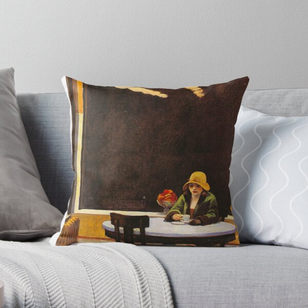 Vintage Edward Hopper Automat Throw Pillow