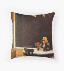 Vintage Edward Hopper Automat Throw Pillow