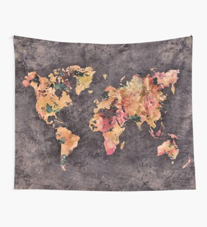 world map 68 Wall Tapestry