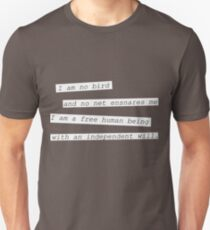 """I am no bird"" - Jane Eyre Unisex T-Shirt"