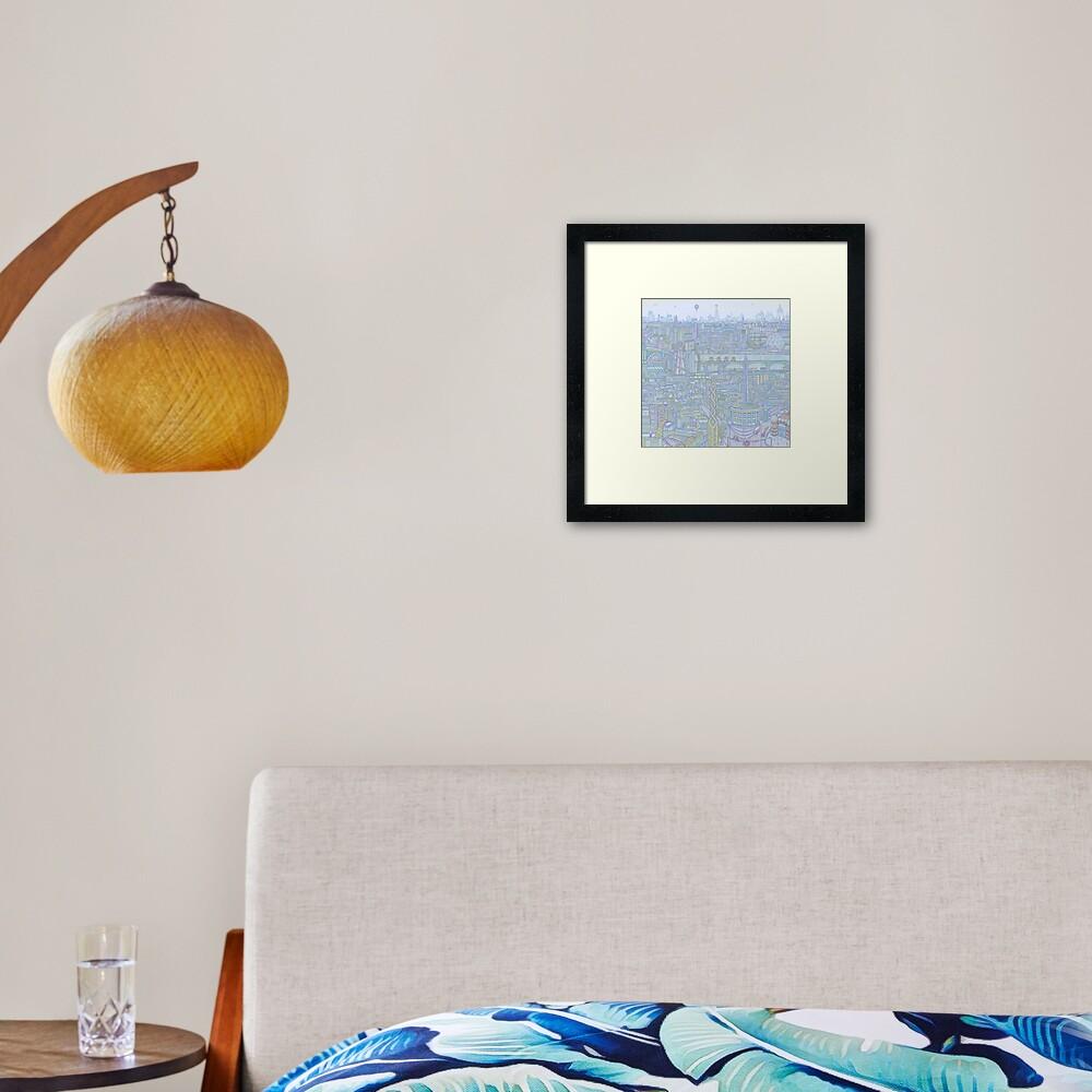 THE MEGATROPOLIS (cool hues) Framed Art Print