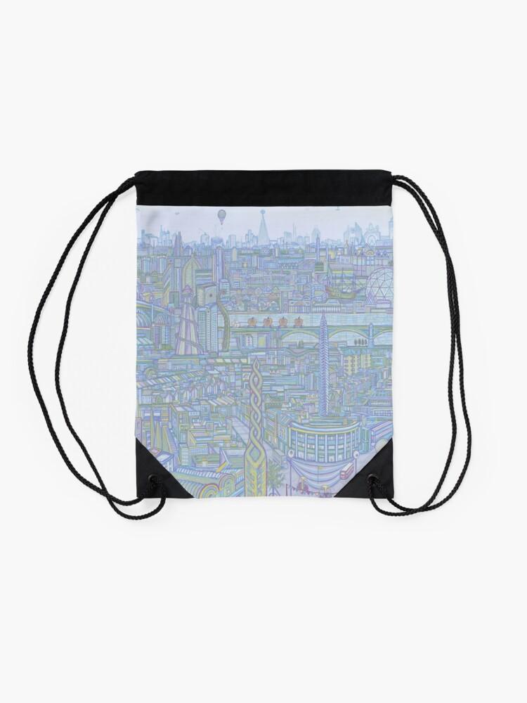 Alternate view of THE MEGATROPOLIS (cool hues) Drawstring Bag