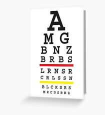 Tuned MB cars Snellen eye test with German flag Greeting Card