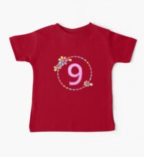 Charming 9th Birthday Shiny Rainbow Jewel Cute Gift Kids Clothes