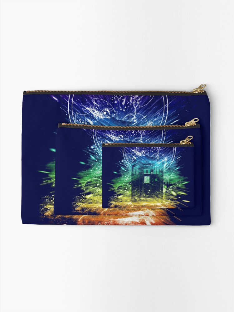 Alternate view of time storm-rainbow version Zipper Pouch