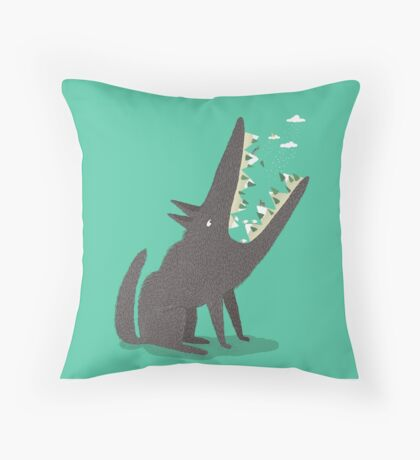 Au loup ! Throw Pillow
