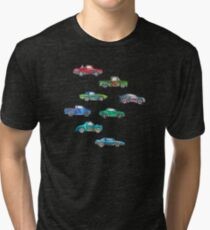 Little Toy Cars in Watercolor on White Tri-blend T-Shirt