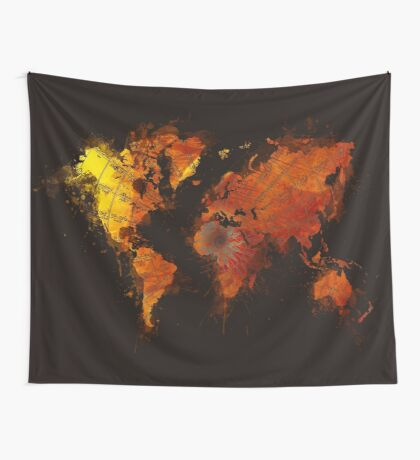 world map 70 Wall Tapestry