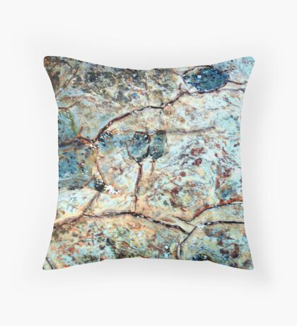 Abstract in stone, Blue Frogs Throw Pillow