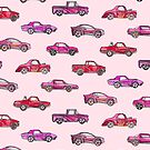 Little Toy Cars in Watercolor on Pink  by micklyn