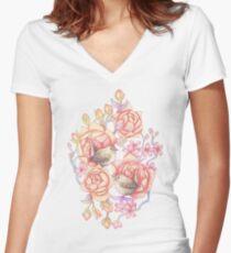Birds'n'roses black  Women's Fitted V-Neck T-Shirt