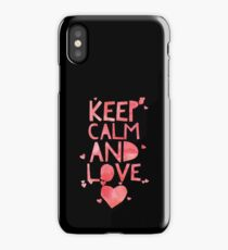 Cute and Cool Love Merchandise - Keep Calm and Love - Best Gift for Men, Women, Mom, Dad, Boyfriend, Girlfriend, Husband, Wife, Him, Her, Couples, Grandma, Brother or Friends iPhone Case/Skin