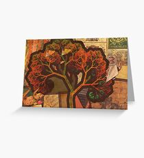 Beautiful Fractal Collage of an Endless Origami Autumn Greeting Card