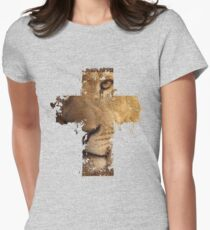 Lion Cross Christian  Womens Fitted T-Shirt