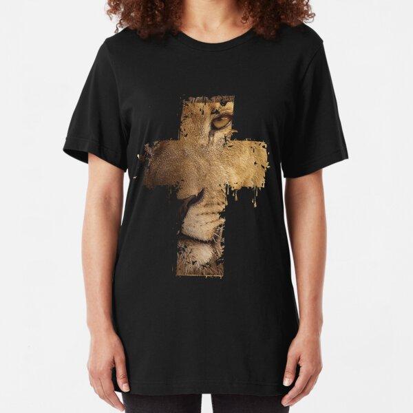 Lion Cross Christian  Slim Fit T-Shirt