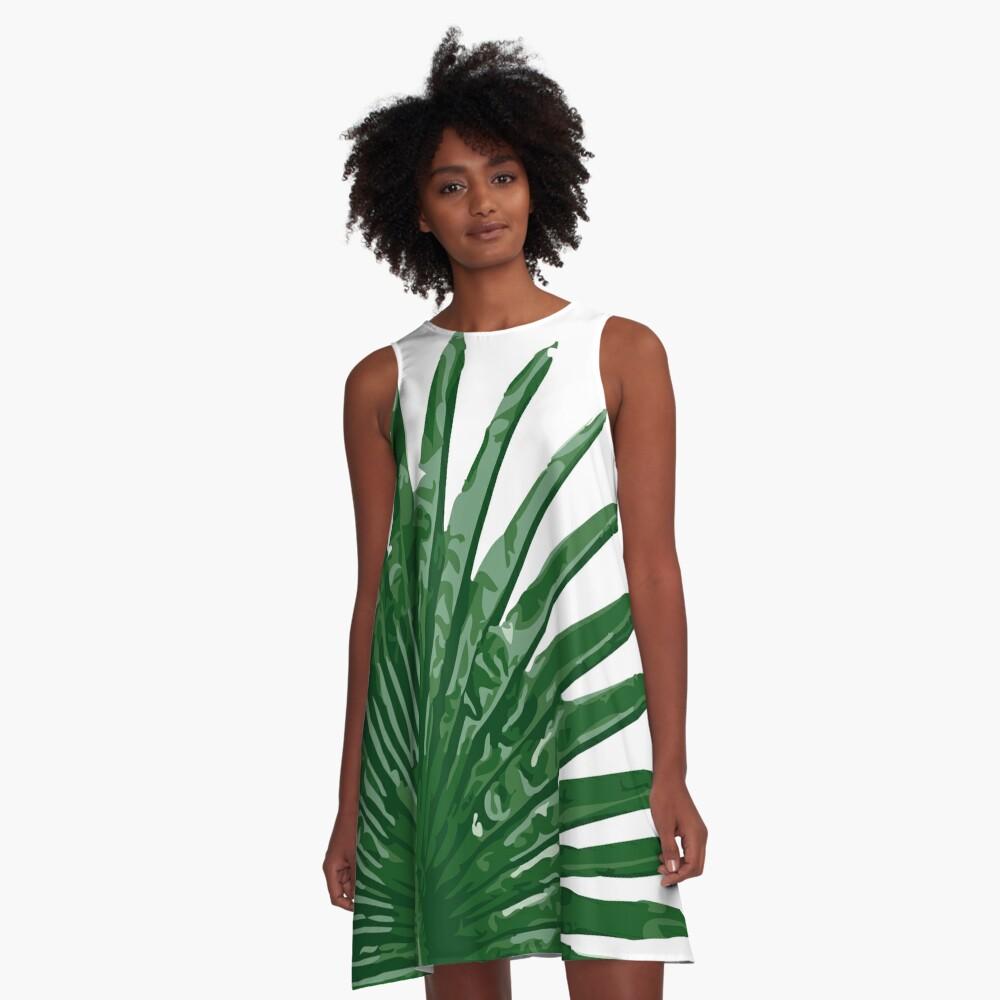 Fan Palm Leaf A-Line Dress