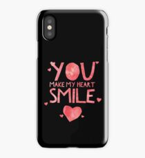 Cute and Cool Love Merchandise - You Make My Heart Smile - Best Gift for Men, Women, Mom, Dad, Boyfriend, Girlfriend, Husband, Wife, Him, Her, Couples, Grandma, Brother or Friends iPhone Case/Skin