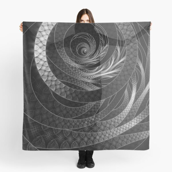 Shining Silver Corded Fractal Bangles Scarf
