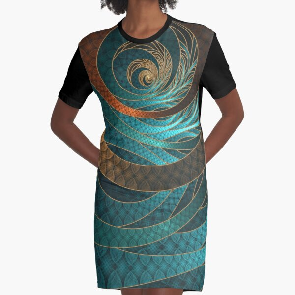 Beautiful Corded Leather Turquoise Fractal Bangles Graphic T-Shirt Dress