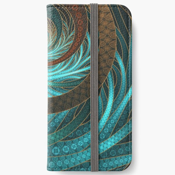 Beautiful Corded Leather Turquoise Fractal Bangles iPhone Wallet