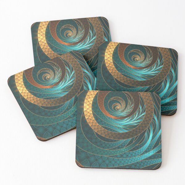 Beautiful Corded Leather Turquoise Fractal Bangles Coasters (Set of 4)