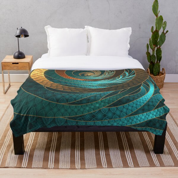 Beautiful Corded Leather Turquoise Fractal Bangles Throw Blanket