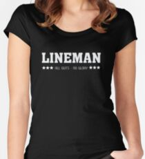 Lineman All Guts No Glory Funny Football  Women's Fitted Scoop T-Shirt