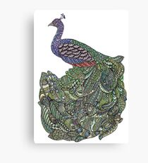 Multicoloured Zentangle Art Peacock Canvas Print