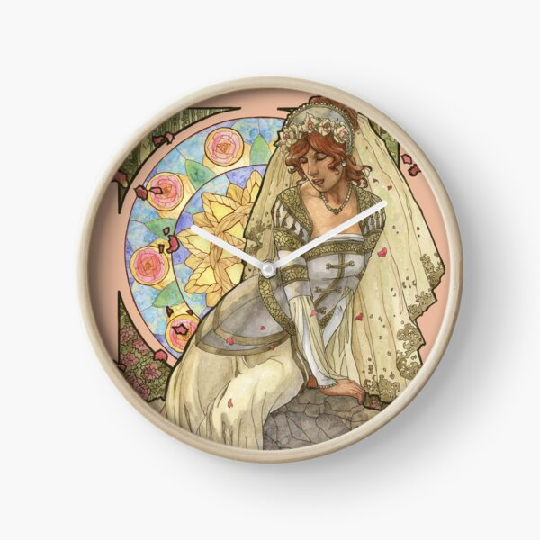 Lady of June Summer Solstice Bride with Sun Wheel and Roses Mucha Inspired Birthstone Series Clock