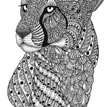 Zentangle Art Black and White Cheetah by TemplemanArt