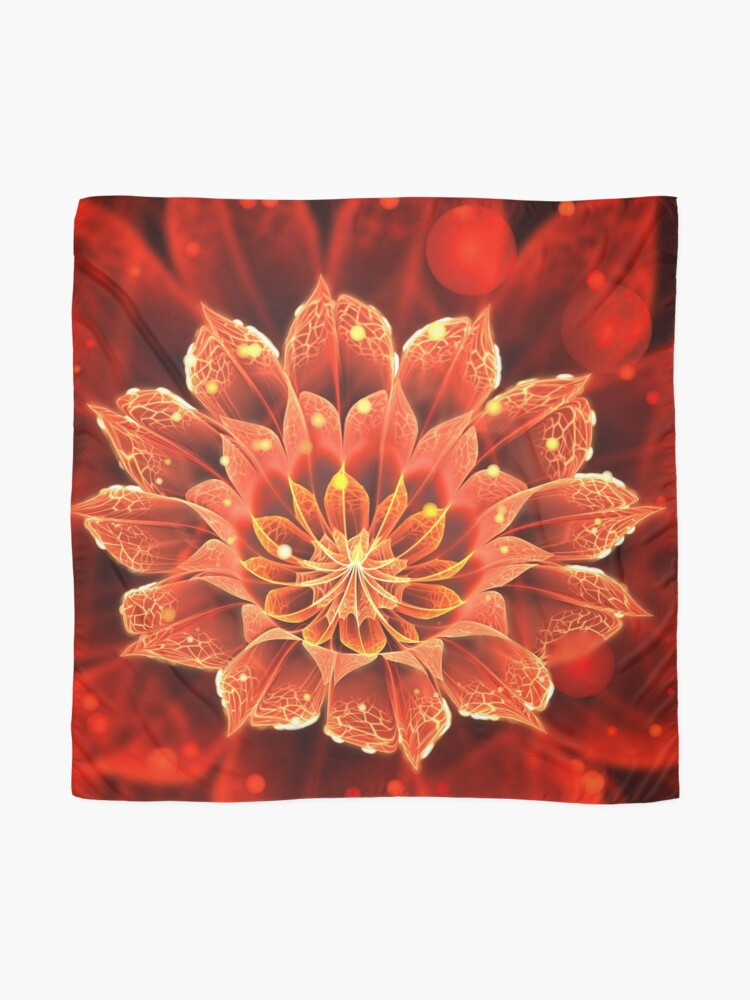 Red Dahlia Fractal Flower With Beautiful Bokeh Scarf By Jayaprime Redbubble