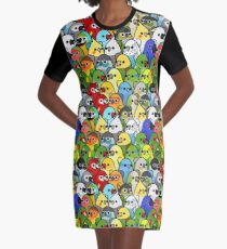 Too Many Birds! Bird Squad 1 Graphic T-Shirt Dress
