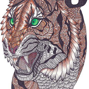 Zentangle Art Snarling Sumatran Tiger by TemplemanArt