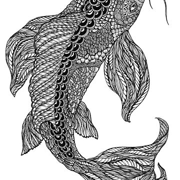 Zentangle Art Black and White Koi Fish by TemplemanArt