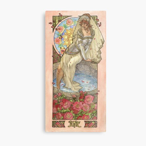 Lady of June Summer Solstice Bride with Sun Wheel and Roses Mucha Inspired Birthstone Series Metal Print