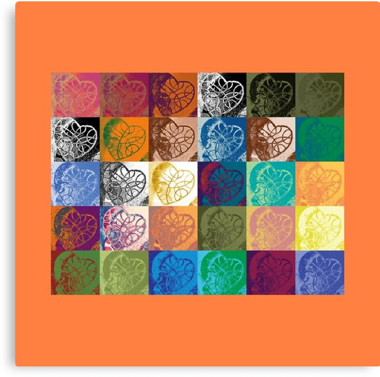 Heart to Heart Rendition, 5x6=30 (with orange border) by Kerryn Madsen-Pietsch